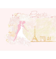 Romantic couple in paris dancing near the eiffel vector