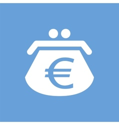 Euro purse white icon vector