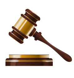Wooden judges gavel vector