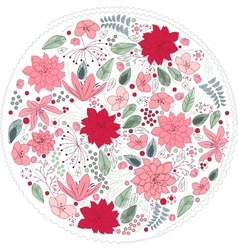 Floral circle made of different flowers vector