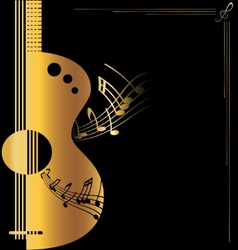 Background golden guitar vector