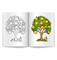 Fruit tree drawn on the book vector