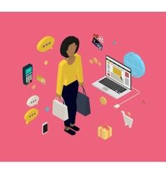 Woman doing shopping online vector