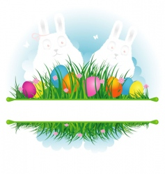 Easter background grass with rabbit vector