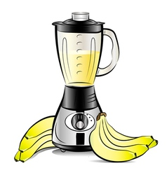 Drawing color kitchen blender with bananas juice vector