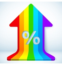 Rainbow grow up arrow with percent sign vector