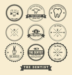 Dentist label design vector