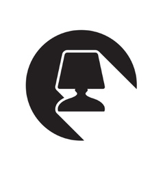 Black icon bedside table lamp and stylized shadow vector