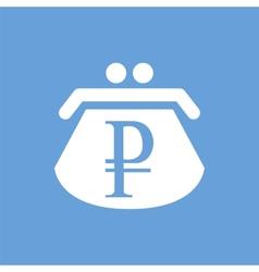 Ruble purse white icon vector