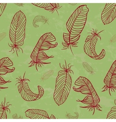 Ethnic seamless pattern with handdrawing feathers vector