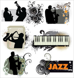 Grunge jazz banners vector