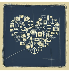 Heart from summer icons vintage vector