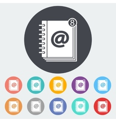 Contact book single icon vector