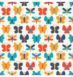 Retro seamless pattern of colorful butterfly vector