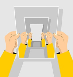 Recursion hand holding blank paper vector