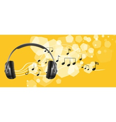 A headset and the musical notes vector