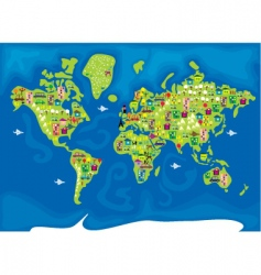 Cartoon map of the world vector