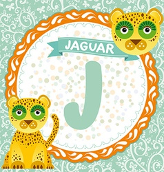 Abc animals j is jaguar childrens english alphabet vector