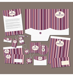 Stationery set with pink stripes vector