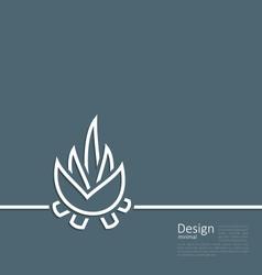 Logo of bonfire symbol of camping simple flat sty vector