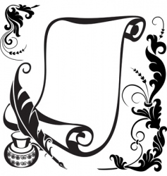 Floral and scroll vector