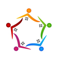 Real estate teamwork logo vector