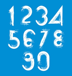 Handwritten white numbers isolated on blue vector