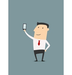 Businessman makes selfie shot vector