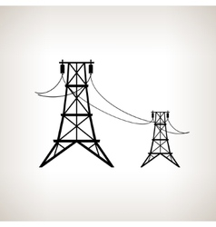 Silhouette high voltage power lines vector