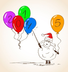 Funny sketching sheep - symbol of the new year vector