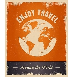 Vintage grunge travelling logo template with earth vector