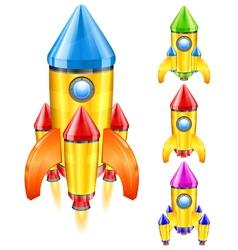 Retro rocket ship vector