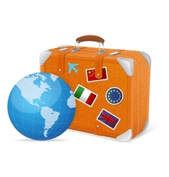 Traveling element baggage and globe vector