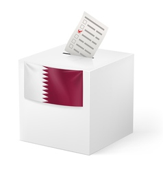 Ballot box with voting paper qatar vector