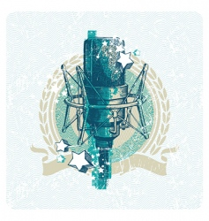 Hand drawn studio microphone vector