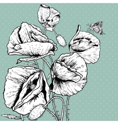 Monochrome background with bunch poppy vector
