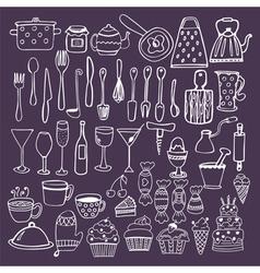 Set of hand drawn kitchen equipments kitchen vector