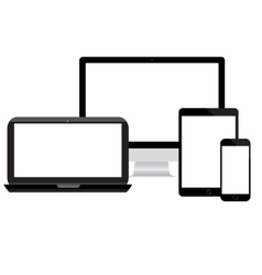 Modern monitor computer laptop phone vector