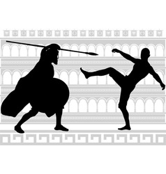 Silhouettes of gladiators vector