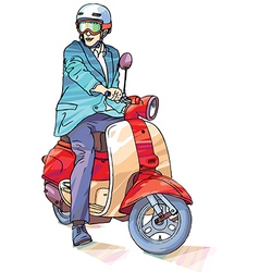 Businessman on the scooter vector