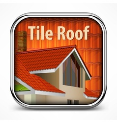 Icon with red tile roof vector