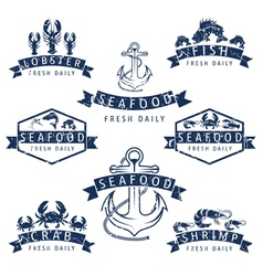 Set of seafood labels in retro style vector