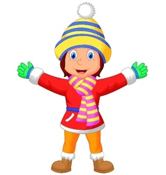 Cartoon a girl in winter clothes waving hand vector