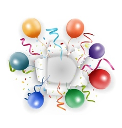 Celebration with confetti and balloon vector