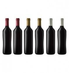 Red wine bottles vector