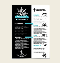 Seafood cafe menu grill template design vector