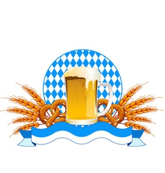 Round oktoberfest celebration design with beer and vector