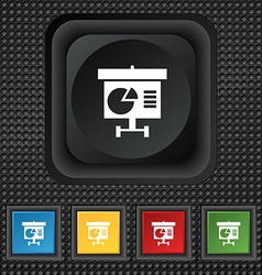 Graph icon sign symbol squared colourful buttons vector