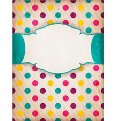 Colorful textured polka dot design with label vector