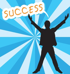 Businessman with success text vector